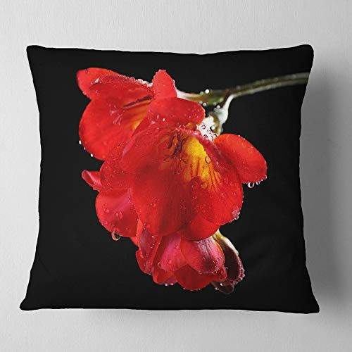 Designart Freesia Flower On Black Background Floral Throw Living Room Sofa Pillow Insert Cushion Cover Printed On Both Side 26 In X 26 In Shefinds