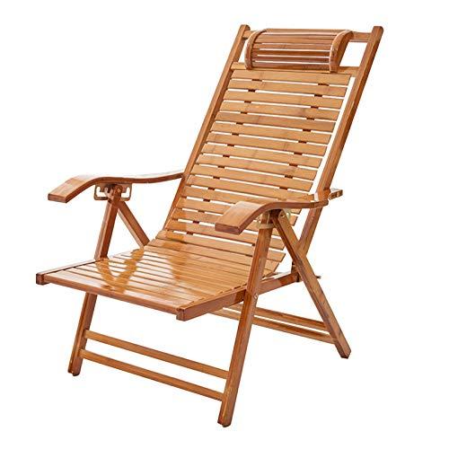 Tumbonas Silla De Bambú Material De Madera Sillón Reclinable Plegable Ajustable Resistente Al Aire Libre Balcón Silla De Playa Al Aire Libre