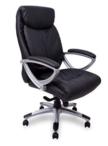 Kijng Chefsessel Kings - Schwarz Silber Echtes Leder Ergonomischer Bürostuhl Schreibtischstuhl Drehstuhl Sessel Stuhl