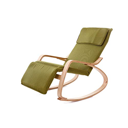 Rocking Chair Wooden Relax Rocking Chair Recliner with Armrest and Footrest Adjustable Recliners Summer Adult Folding Lunch Break Rocking Chair-deck Chairs