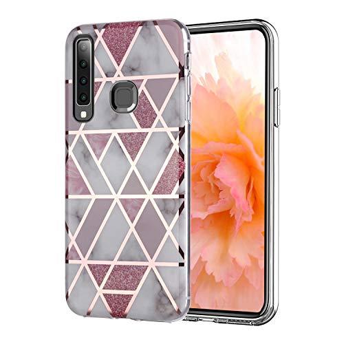 Misstars Hülle für Galaxy A9 2018, Bling Glitzer Geometrischer Marmor Muster TPU Silikon Weiche Schutzhülle Slim Handyhülle Kompatibel mit Samsung Galaxy A9 2018, Rosa