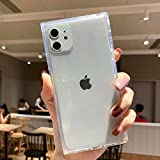 Tzomsze iPhone 11 Clear Case, Square iPhone 11 Cases Reinforced Corners TPU Cushion,Crystal Clear Slim Cover Shock Absorption TPU Silicone Shell for iPhone 11 6.1 inch (2019)-Clear