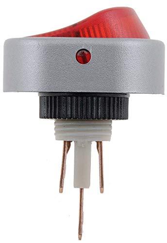 Help 84870 Wippschalter aus Aluminium, oval, leuchtet voll, rot