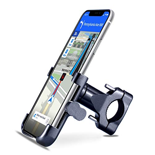 "Homeet Soporte Movil Bici, Soporte Bicicleta Teléfono 360 Grados de Rotación Soporte Móvil Universal Antideslizante Soporte Manillar para Bicicleta Aleación de Aluminio para 4.7"" a 6.8"" Móvil y GPS"