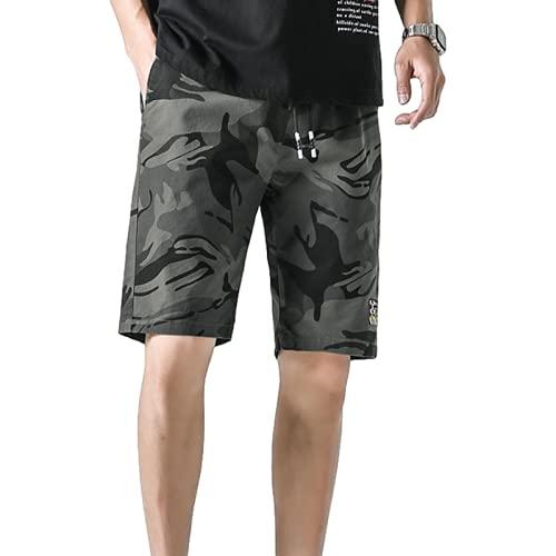 Pantalones Cortos Estampados para Hombre Moda Suelta Transpirable Cintura elástica Tendencia All-Match Outdoor Streetwear Casual Shorts L