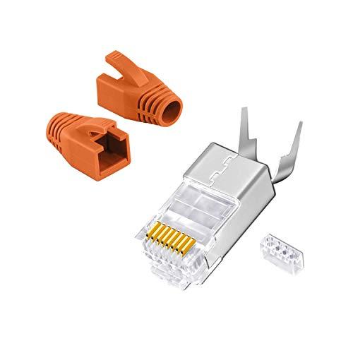 Cat7 Netzwerkstecker RJ45 Crimp Stecker 10x Netzwerk Modular mit Zugentlastung Knickschutz Tülle Orange Einführhilfe für Verlegekabel Cat 7 Cat6a Cat6 AWG23 8 polig Plug (10x, RJ 45 Orange)