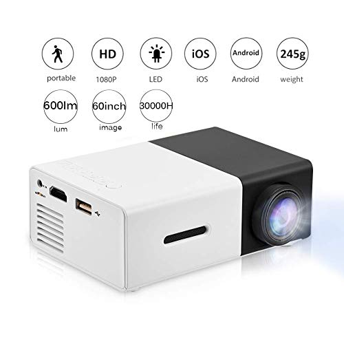 Mini Projector,Portable 1080P 600lm 4 : 3 LED Projector Home Cinema Theater Movie projectors Support Laptop PC Smartphone HDMI Input,Great Gift Pocket Projector for Party and Camping (Black&White)