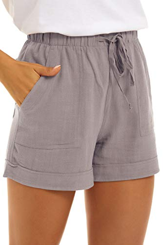 FANGJIN Damen große Lounge-Hose elastische Taille niedliche Reise Leinen Strand Kurze Overalls Gürtel leichte Kordelzug Sommerlaufhose Grau L
