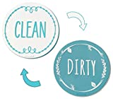 Aqua Circle Clean Dirty Silicone Dishwasher Magnet Sign, Double Sided Dish Washer Indicator, Strong Non Surface Scratching Magnet – Kitchen Safe, Waterproof, and Decorative Aqua Circle Design