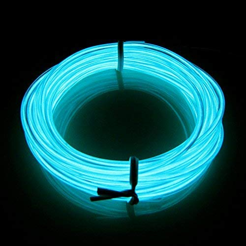 LERWAY 3M Elektrolumineszenz EL Wire Rope LED Lighting Weihnachten Licht Halloween Neujahr Party Autobatterie Beleuchtet Flexibles Streifen Licht (Hellblau)