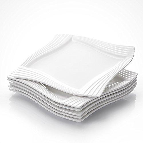 MALACASA, Serie Amparo, 6 piezas Plato de Porcelana Blanca Crema Plato de Postre Plato de desayuno para 6 Personas