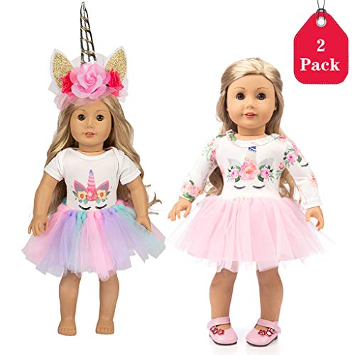 Ropa de la Muñeca del Traje del Unicornio para Las Muñecas del Bebé Recién Nacido Girl Doll para 18 Pulgadas Dolls, Conjunto de 2 (40-45 cm)