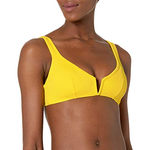 Maaji Women's Victory Reversible V Wire Bikini Top Swimsuit, Submarine Yellow Rib, Medium