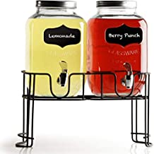 Circleware Beverage Dispensers with Metal Stand, Fun Sun Tea Party Entertainment Glassware Glass Water Pitcher for Iced Cold Punch Drinks, 1 Gallon, Double Yorkshire Chalkboard
