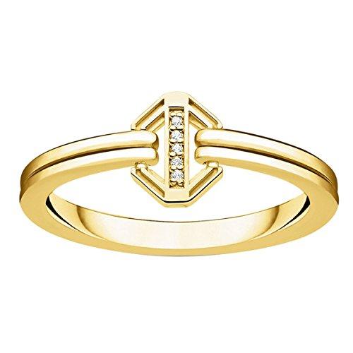THOMAS SABO Damen Ring Vintage Gold 925er Sterlingsilber; 750er Gelbgold Vergoldung D_TR0036-924-14