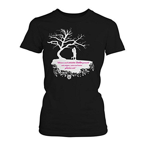 Fashionalarm Woraus auch unsere Seelen gemacht Sein mögen - Baum - Damen T-Shirt Fan Shirt zur After Buchreihe von A. Todd - Passion Truth Love Forever Before us Anna, Farbe:schwarz;Größe:3XL