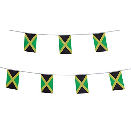 TSMD Jamaica Flag, 100 Feet Jamaican Flag National Country World Pennant Flags Banners String,Internationl Party Decorations for Grand Opening,Olympics,Bar,School Sports Events,Festival Celebration