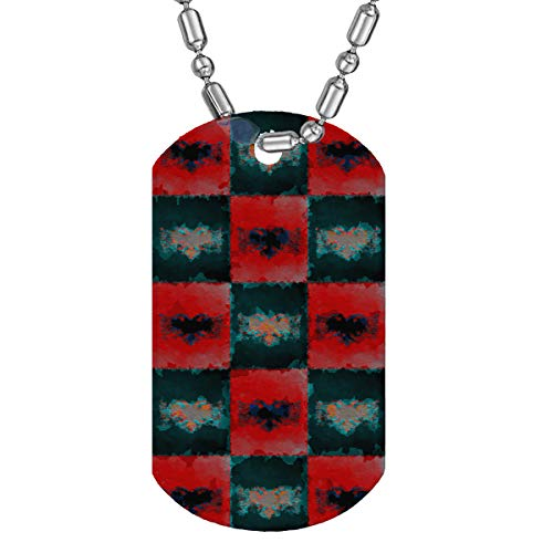 Sunshine Cases Albanian Flags Painted - Clear Acrylic Military Dog Tag Luggage Tag Key Chain Metal Chain Necklace