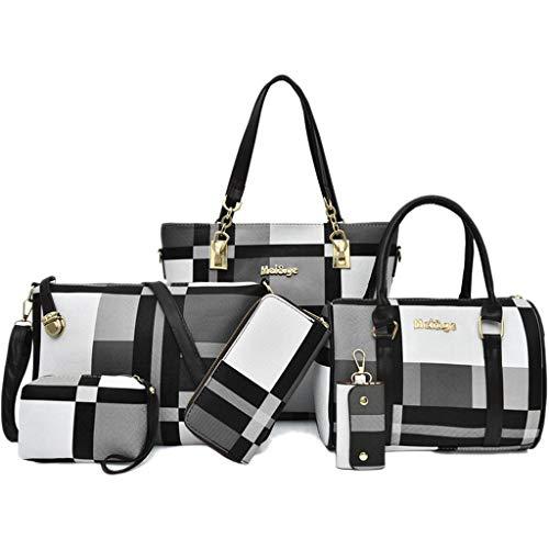 luaai Grande capacità di Cuoio Molle dell'unità di Elaborazione di Modo della Borsa Composit Tote Bag Shoulder Bag 6 Pezzi Set di Crossbody Bag Sacchetto del Raccoglitore della Carta Black-M