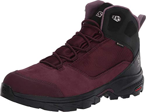 Salomon Damen Outward GTX, Hohe Wanderschuhe, Wasserdicht,Winetasting/Black/Quail,40 EU