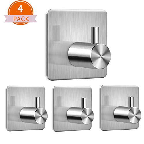 Yazoo Adhesive Hooks Towel Robe Hook Heavy Duty Bath Wall Hangers Hooks Waterproof Stainless Steel 3M Hooks for Hanging Kitchen,Bathroom,Bedroom, Brushed Nickel 4 Packs