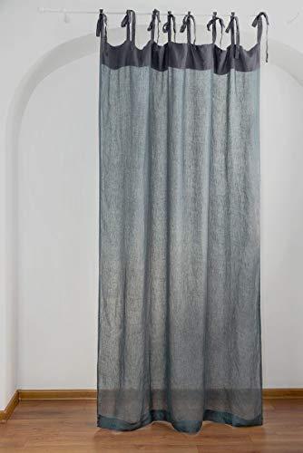 Blue Grau Leinen Gardinen mit Bindebänder Sheer Vorhänge für Wohnzimmer-Vorhänge Leinen-Vorhänge, Leinen Gardinen Blue Grau, Gardinen Leinen Transparent in Blue Grau Farbe