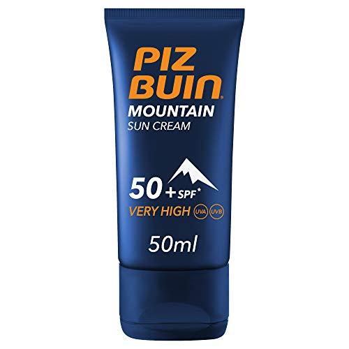 PIZ BUIN, Crema Solare Montagna, Protezione Molto Alta 50+ SPF, Filtro Solare UVA/UVB e Protezione Vento e Freddo, Mountain Sun Crem, 50ml