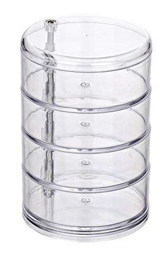 WENKO Kosmetik Organizer Tower Transparent - mit 4 drehbaren Fächern, Acryl, 11.5 x 17.5 x 11.5 cm, Transparent
