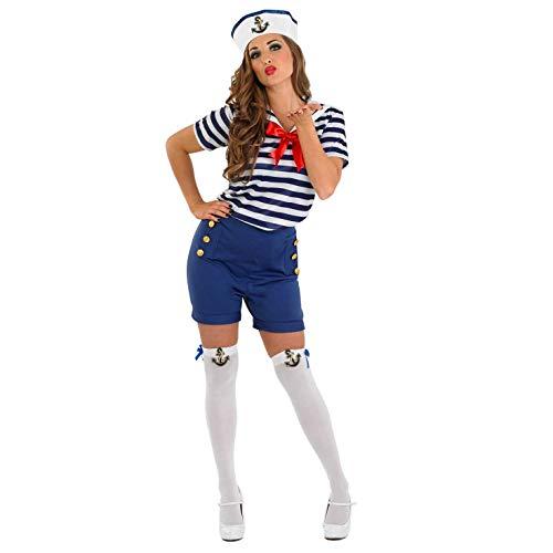 Fun Shack Blaues Matrosenkostüm für Damen, Karnevalskostüm Matrosin, Marine Verkleidung - S