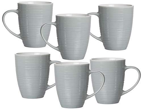 Ritzenhoff & Breker Kaffeebecher-Set Suomi, 6-teilig, je 310 ml, Grau-Blau, Porzellan