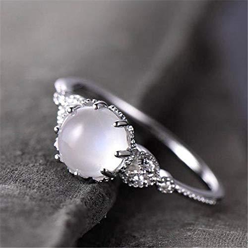 RVXZV Damen Silber 925 Schmuck Verlobungsring Mondstein 18 Karat Roségold Geschenk zum Valentinstag 6 Silber Farbe