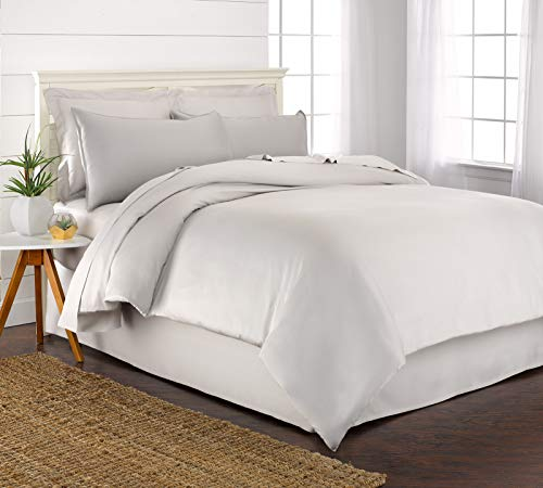 Pure Bamboo Twin Duvet Cover Set - 100% Organic Bamboo, Luxuriously Soft and Cooling - 2 Piece Set Includes 1 Twin Button Closure Duvet Cover with Ties, 1 Pillow Sham Cover (Twin, White)