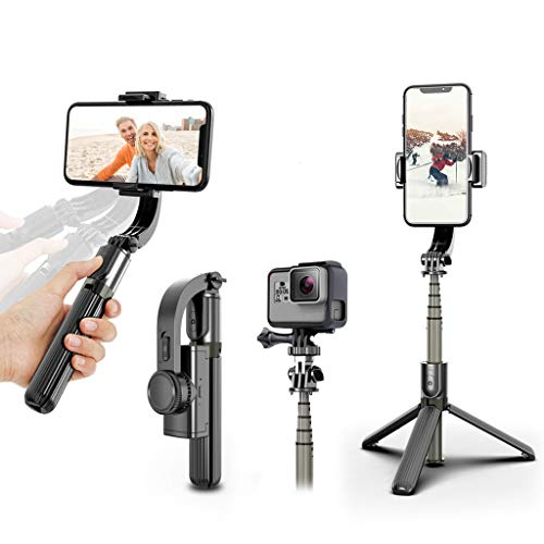Gimbal Stabilizer, UPXON 360° Rotation Selfie Stick Tripod with Bluetooth Wireless Remote, Portable Phone Holder, Auto Balance 1-Axis Gimbal for Smartphones Tiktok Vlog Youtuber Live Video Record