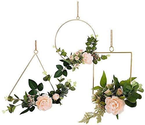 WUHUAROU 3 Stück Nordischer Stil Einfach Kreis Blumenkranz von Eisen Anhänger mit Blühen Kunst Blume Deko Deko-Kranz Gefälschte für Zuhause Wohnung oder Zeremonie Als Hochzeit Party