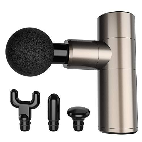 2020 Upgated Mini Massagepistole, tragbare 4-Gang-Hand-Percussion-Massagegeräte für Muskelkater, superleise Tiefengewebetherapiepistole mit 4 Massageköpfen Muscle Massage Gun