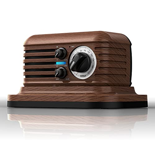 KKACHI Retro Bluetooth Speaker Portable FM Radio Vintage Wooden Style Wireless Pairing with 20Hour...