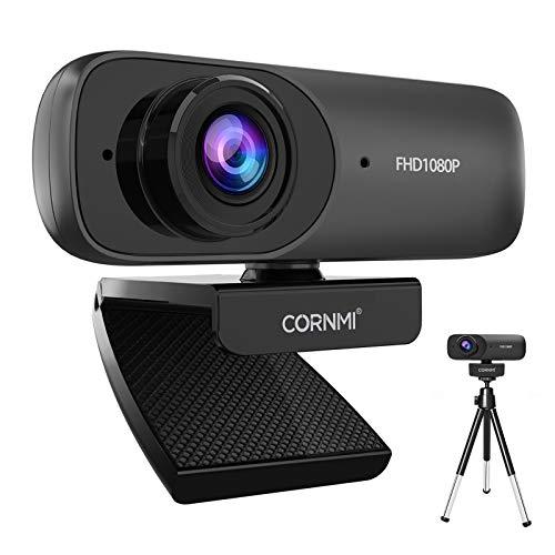 CORNMI Webcam 1080P Full HD mit Stereo-Mikrofon, Streaming Webkamera für Videochat, Aufnahme, Computer und Skype, USB Plug und Play, kompatibel mit Windows, Mac und Android