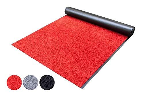 Schmutzfang-Läufer Teppich Meterware Schmutzfang-Matte WASH and CLEAN – Rot 90 x 250 cm, Waschbarer, Rutschfester, Wasserabsorbierender Küchenläufer, Sauberlauf, Fußmatte für Innen und Außen