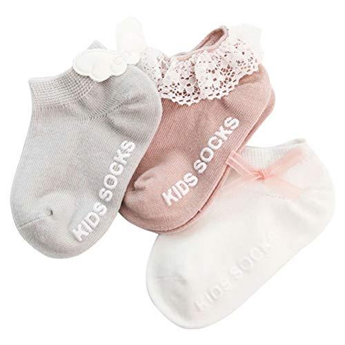 AOIREMON ベビー ソックス 新生児 靴下 子供 ガールズフットカバー キッズ 靴下 赤ちゃん 綿 通気 柔らかい 可愛い 0-3歳 3足セット