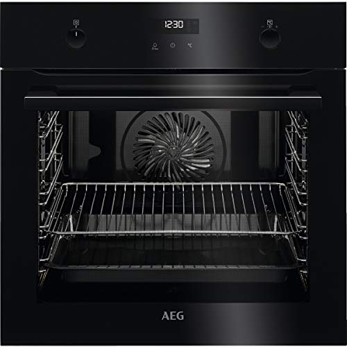 AEG BPE535120B Horno multifunción con limpieza pirolítico, 10 funciones, cocción uniforme, ventilador XXL, mandos escamoteables, pantalla LCD táctil, negro, clase A+, 71 litros