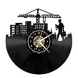 Orologio da parete in vinile per ingegnere edilizio, decorazione per la casa in vinile da appendere alla parete, decorazione artistica da 12 pollici LP fatto a mano (mh paragrafo)