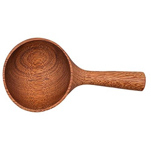 Cuchara de sopa de madera, redonda, Nanmu con mango ergonómico, mango largo, arroz, postre, cocina, degustación para restaurante de cocina