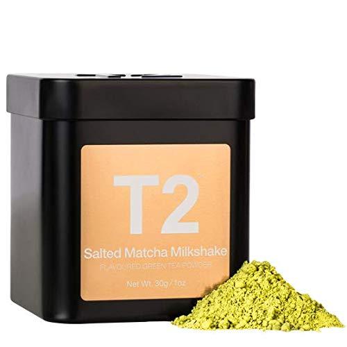 T2 Tea - Salted Matcha Milkshake, Flavoured Green Tea Powder in Tin, Flavoured Matcha Tea, 30g, 1oz