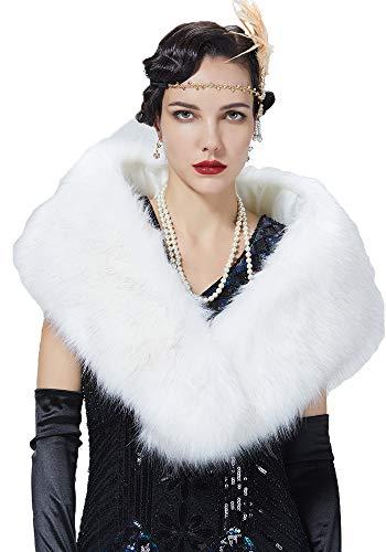 BEAUTELICATE Bufanda Cuello Pelo Mujer Chal Piel Sintética Estola Calentador Cuello para Abrigo Invierno Fiesta Boda