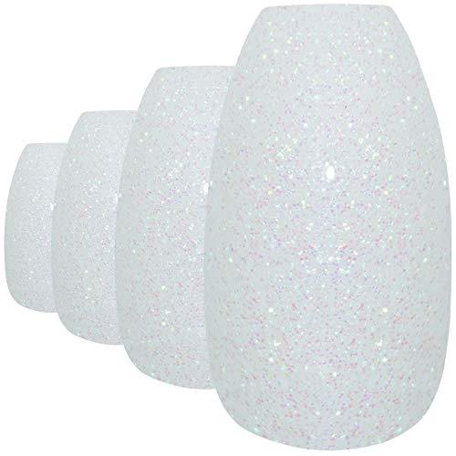 Faux Ongles Bling Art Blanc Gel Ballerine Cercueil 24 Longue Faux bouts d'ongles acrylique avec colle