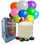 Allkindathings 50 Disposable Helium Gas Canister with 50 Balloons & Ribbon