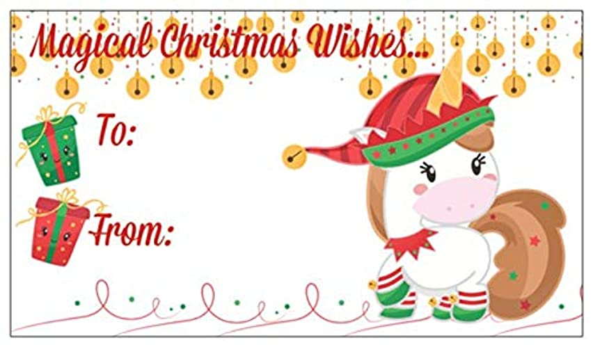Unicorn Christmas Gift Tags with Matching Stickers Cute Festive Unicorns for Gift Wrap Wrapping Packages