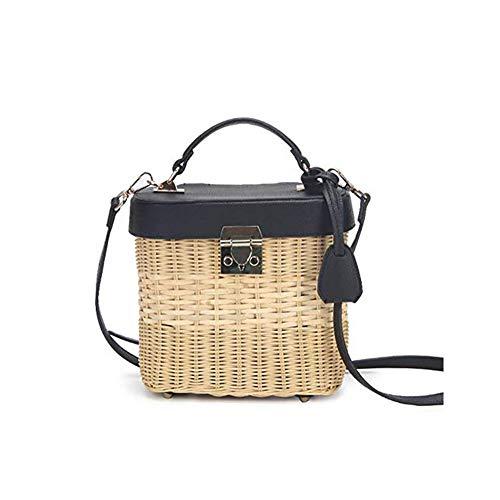 OH Female Rattan Carrybag Shopping Hamper Basket Retro Style Storage Bag Beach Bag Shopping Get Together Decorative Basket Rope Woven Baskets Handmade Basket