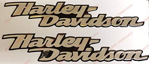 Escudo Logo Decal Harley Davidson, Dyna Street Bob, par Pegatinas resinati, Efecto 3D. para depósito o Casco. Base Cromo (Plata a Espejo)