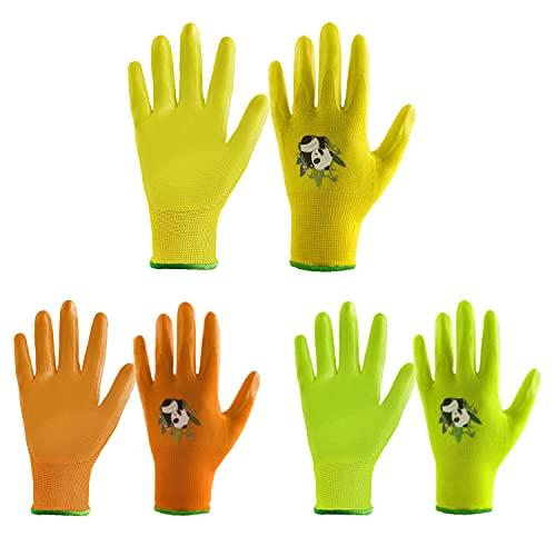 3 pares de guantes de jardinería para niños de 2 a 13 años, colores dulces para niños, guantes de agarre de jardín con palma recubierta de goma para niñas y niños (tamaño 5 (edad 9-10), 3 colores)